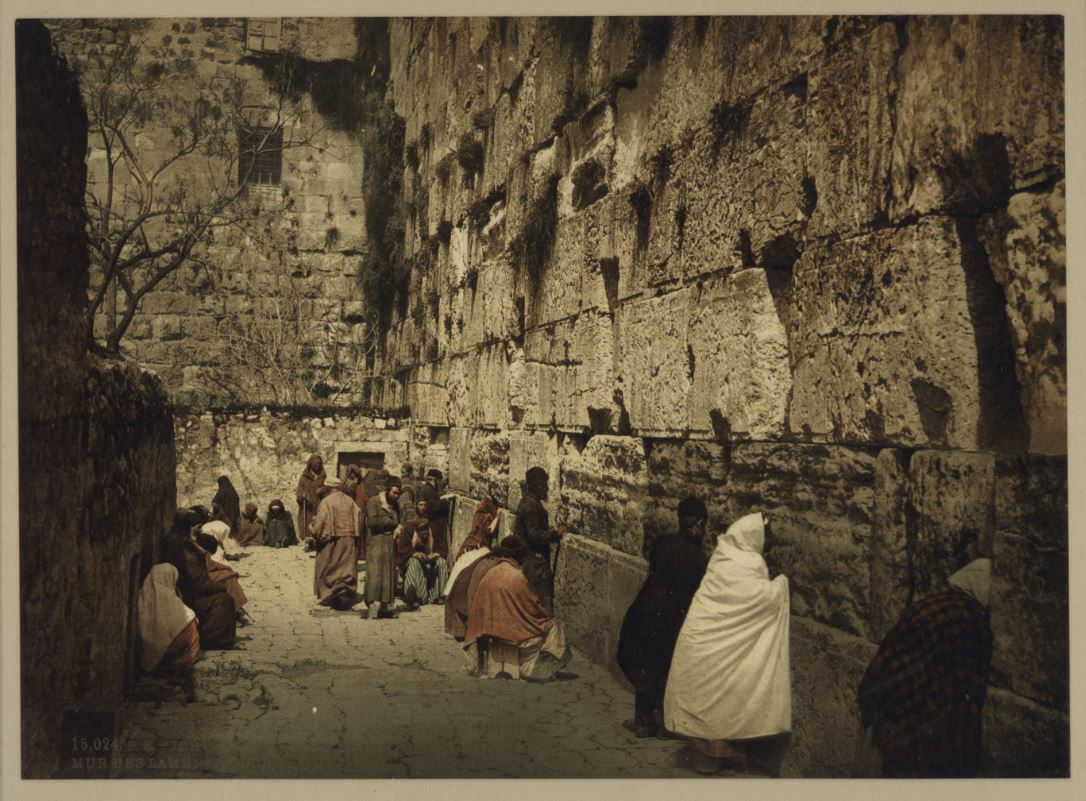 The Western Wall At End Of 19th Century Men And Women Are Seen Leaning On