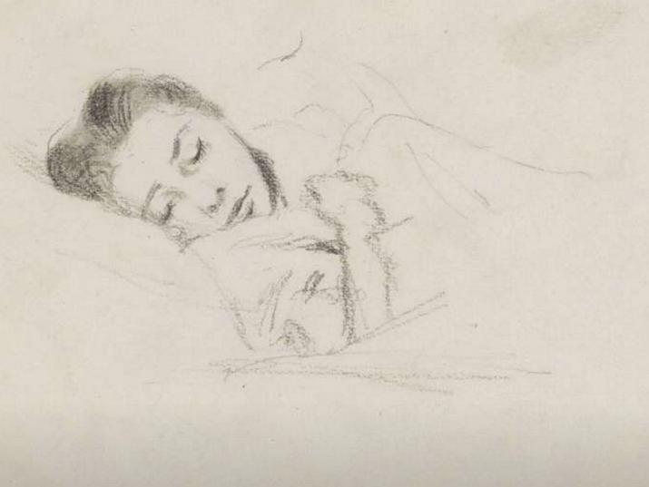 Slapend meisje in bed, Bramine Hubrecht, 1874