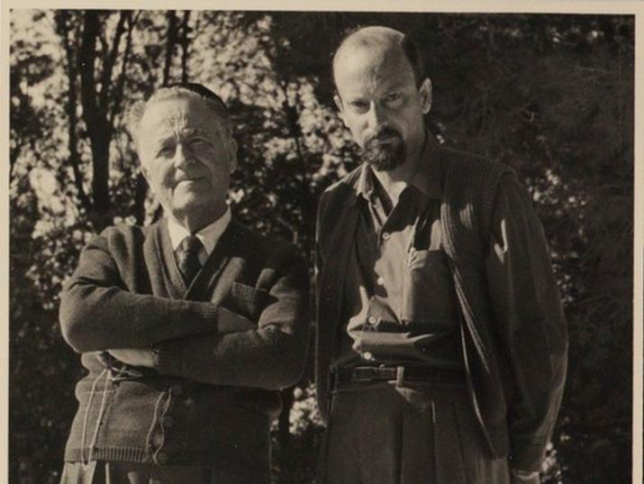 """טוביה ריבנר וש""""י עגנון. מתוך: ארכיון עגנון, הספרייה הלאומית"""