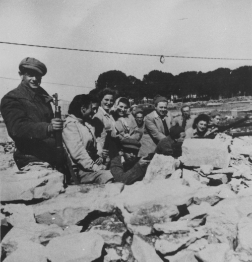 A group of men and women manning a guard post during the siege on Gush Etzion