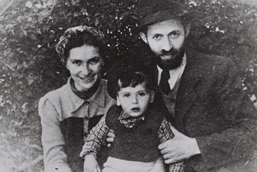 Menachem Begin disguised as Rabbi Israel Sassover, with his wife Aliza and their son Benny. Photo: GPO