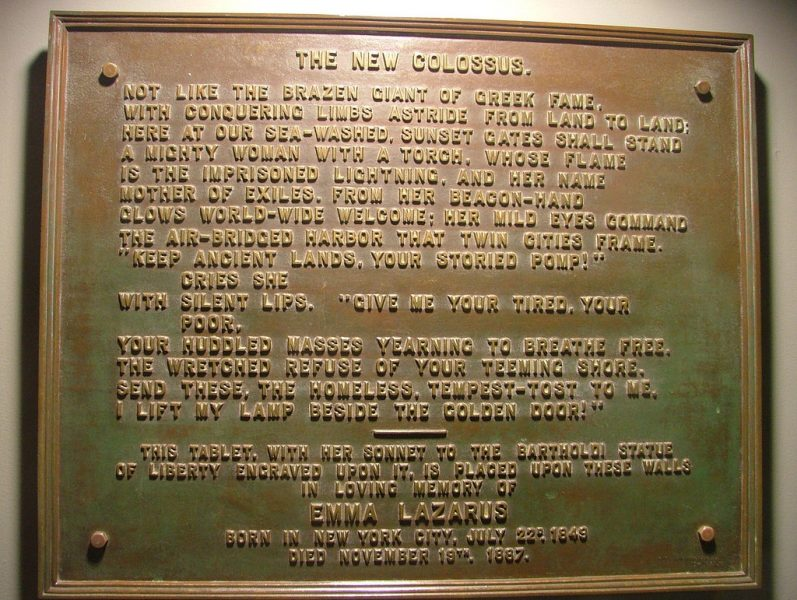 """The New Colossus"" plate on the Statue of Liberty"