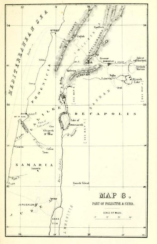 """מפה של הכינרת מהספר """"רוב רוי על הירדן"""""""