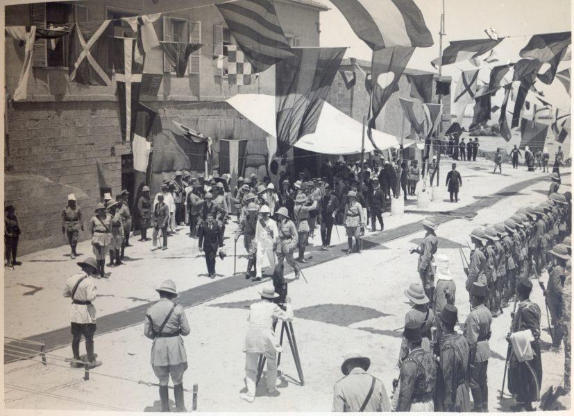 סמואל מתקבל בעיר יפו, 1 ביולי 1920
