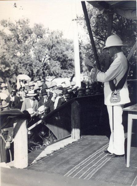 סמואל נואם בחיפה, 9 ביולי 1920
