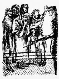 """שני איורים של מחנות ריכוז משנת 1933. האיור התחתון שימש כעמוד השער של הספרון """"נשים וילדים תחת צלב הקרס"""" שהוא אוסף ידיעות ודוחות עובדתיים על הטרור והדיכוי ברייך השלישי שהתפרסם בשפה האנגלית ב-1936 בניו-יורק, ארה""""ב."""