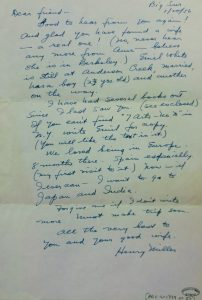 A letter from Henry Miller to Gyula Zilzer 1956