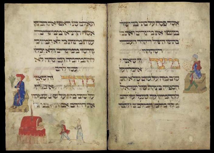 הגדת רוטשילד: נכתבה ואוירה בצפון איטליה, בשנת 1450 בערך. מאוירת כנראה על ידי יואל בן שמעון. / Ms. Heb. 4°6130