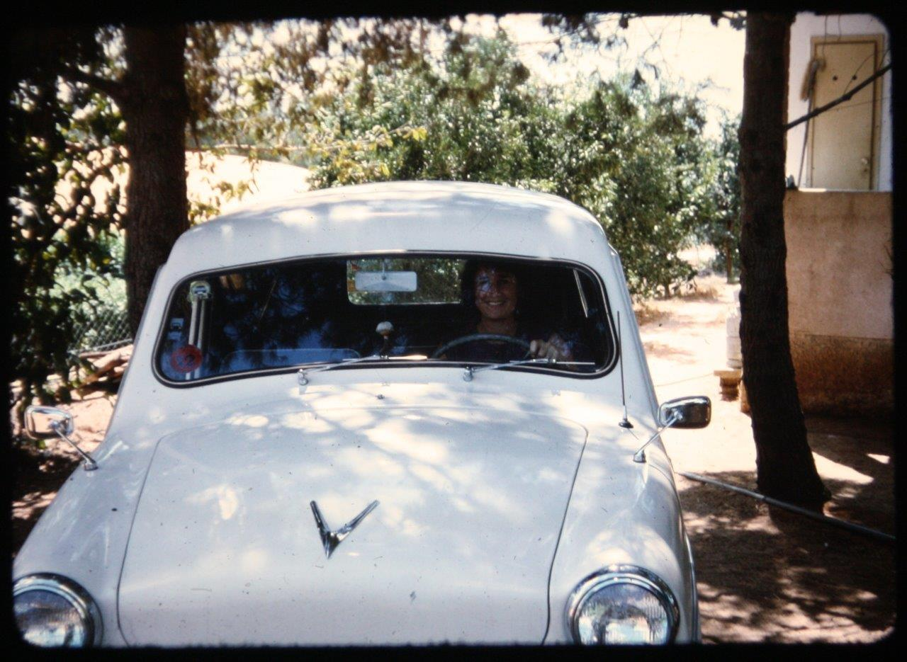 The second Susita. Photographed in 1968 in the courtyard of the Shuv family home in Ganei Am. Sarah Shuv is behind the wheel. Photo: Yosef Shuv