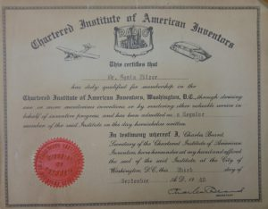 Membership certificate from The Institute of American Inventors given to Gyula Zilzer