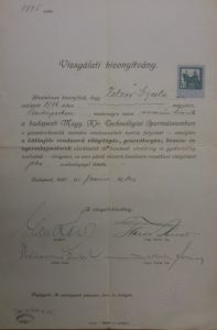 Certificate from the Royal Hungarian Museum of Technology given to Gyula Zilzer concerning absolving a gas engine operator course in 1920