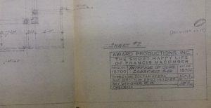 """מערך במה שתוכנן וצויר על ידי צילצר עבור סרט הקולנוע """"חייו המאושרים הקצרים של פרנסיס מקומבר"""""""