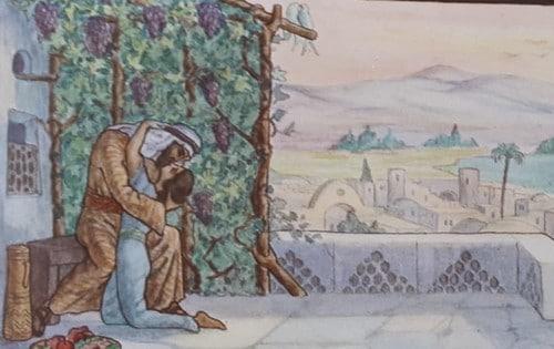 """מתוך ספר האיורים שאייר זאב רבן בהשראת שיר השירים. הוצאת האקדמיה לאמנויות ע""""ש בצלאל, שנת תר""""ץ (1929)"""