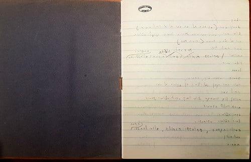 """צילום מתוך מחברת העבודה של עגנון על הרומן """"תמול שלשום"""".מתוך: ארכיון ש""""י עגנון בספרייה הלאומית"""