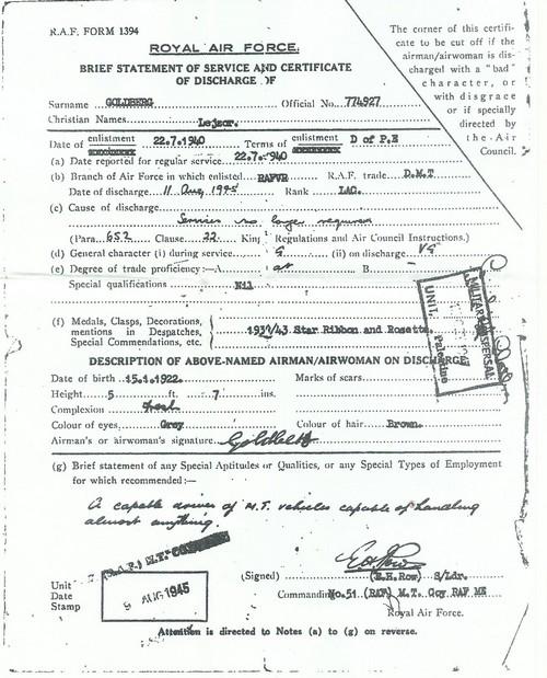 """תעודת שחרור של אליעזר גולדברג מן הצבא הבריטי (11 אוגוסט 1945. """"סיבת השחרור - שירותיו כבר אינם נחוצים...."""""""