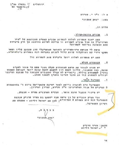 """""""וכן את ישראל דליות שהעלה את רעיון הפסטיבל"""" (מתוך אוסף ישראל דליות)"""