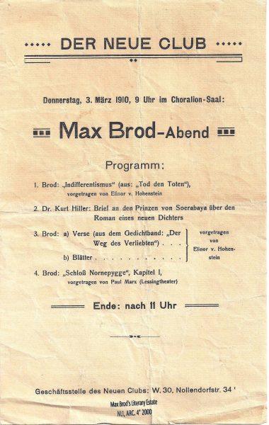 ברוד והילר, שנת 1910