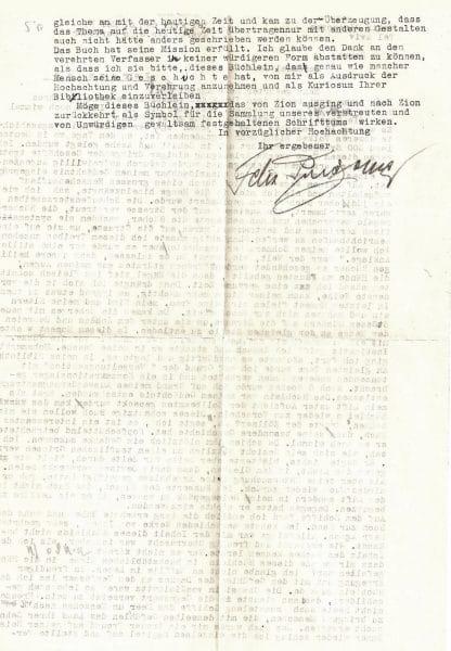"""המכתב מאת פינצ'ובר אל ש""""י עגנון 2"""