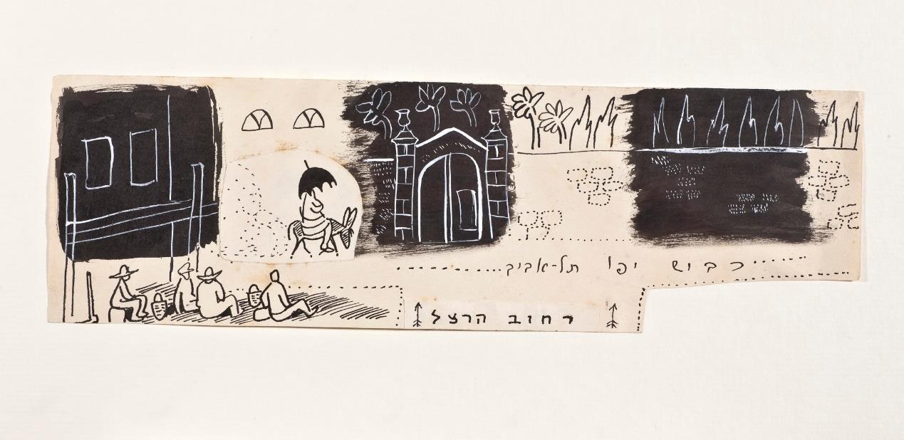 נחום גוטמן, כביש יפו–תל־אביב, דיו, גואש ונייר על נייר, 1959