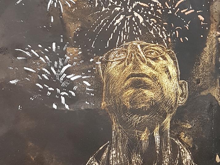 """אוהד שאלתיאל, """"אשא עיני.."""", מתוך הסדרה """"זיקוקין"""", רישום בגריעה, זפת ולכה על נייר ארץ', 80X65, 2015"""