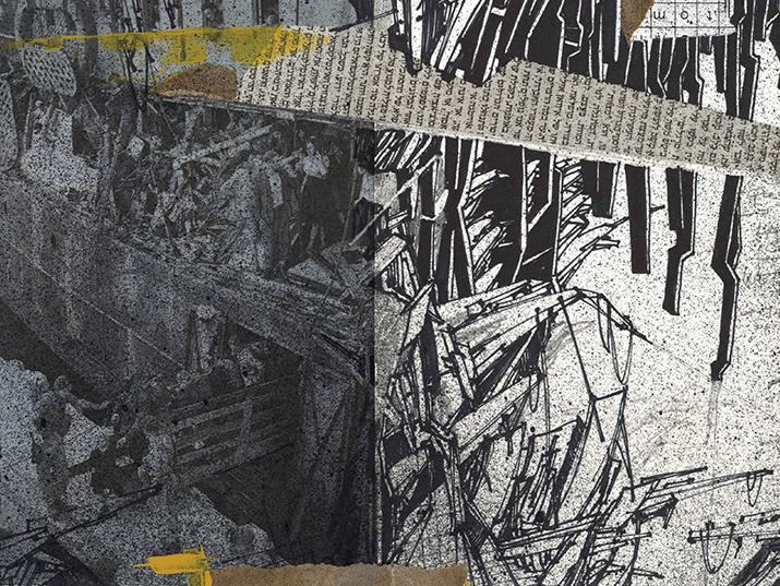 """אמיר תומשוב, """"באפילה מס. 3 """", מדיה מעורבת על קרטון, קולאז', גרפיט, דיו, מרקר, וצבע ספריי, 160X46, 2011"""