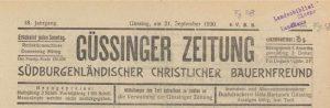 Güssinger Zeitung 1930