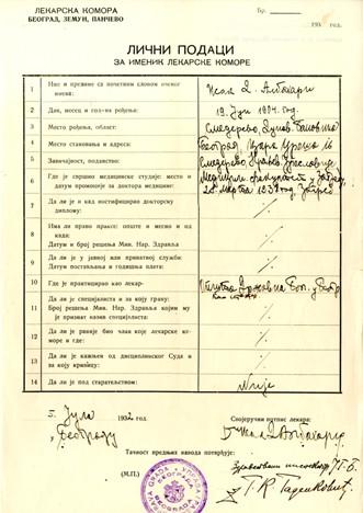 Personal data of Doctor Isak Albahari in the Medical Chambers Register