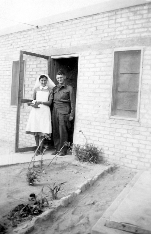 4.In the military clinic of a military camp in Egypt (Dr. Rudy Goldstein with a nurse at the entrance to the clinic), 1942. The Bitmuna Collection.