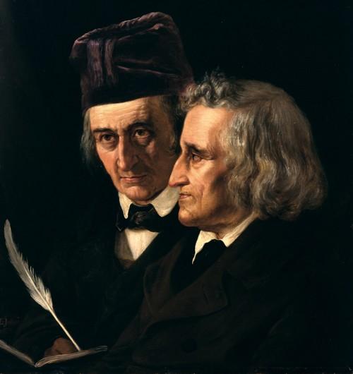 האחים גרים (יאקוב מימין, וילהלם משמאל), ציירה Elisabeth Jerichau-Baumann. שנת 1855