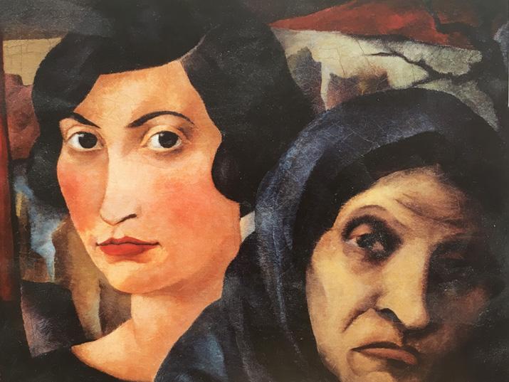 """יוסף בודקו, """"שתי נשים"""", שמן על פשתן, 32.5/40, 1925 (מאוסף המוזיאון היהודי בברלין)"""