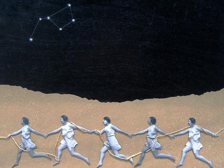 אפרת פלג, ללא כותרת, טכניקה מעורבת (חול, אלומיניום,תצלום דיגיטלי, חוט ניילון) על עץ ,75X75 ,2008