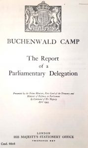 The cover of the British parliamentary report, on Buchenwald discovered in the archives of the National Library of Israel