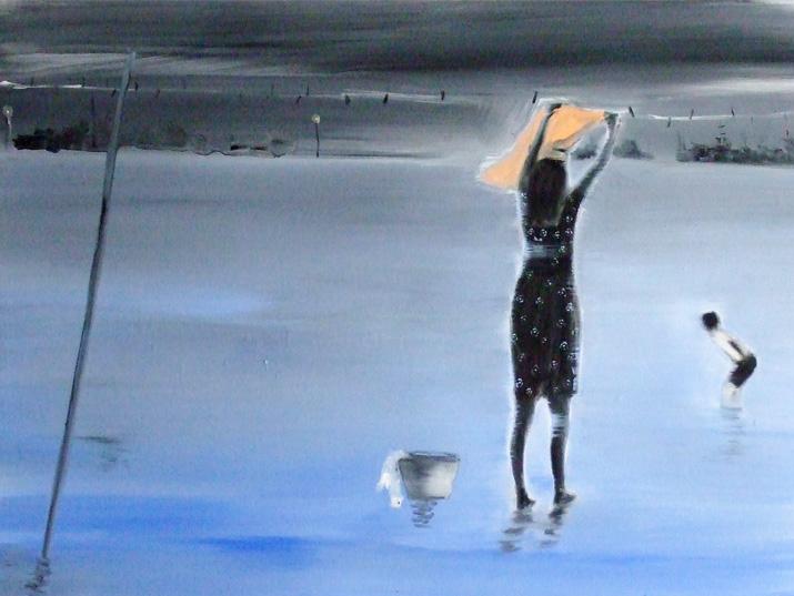 """רונן סימן טוב, 'הכובסת', שמן על בד, 60/90 ס""""מ, 2010"""