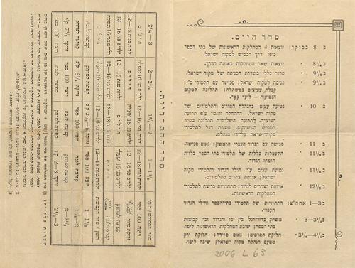 """תכניית חגיגות ט""""ו בשבט במקווה ישראל בשנת תר""""פ (1920)"""