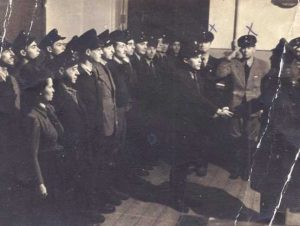 Parade of the Ghetto Gate Guard with Moishe Levas in the center of the image (photo: Vilna Ghetto collection, The National Library of Israel).