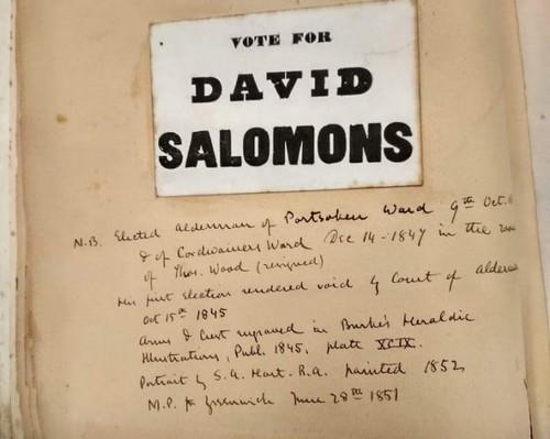 """כרזת מסע בחירות, מתוך """"חייו של סר דיוויד סלומונס כפי שהם משתקפים בקטעי עיתונות בין השנים 1831–1869"""" שבאוסף הספרייה הלאומית"""