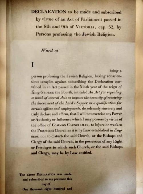 """נוסח השבועה ליהודים הנבחרים למשרה ציבורית. מתוך """"חייו של סר דיוויד סלומונס כפי שהם משתקפים בקטעי עיתונות בין השנים 1831–1869"""" שבאוסף הספרייה הלאומית"""