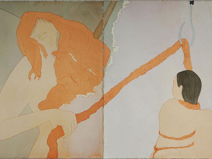 """מרב קמל, פרט מתוך """"באוחנבל"""", חריטה בצבעי מים ודיו על נייר, 154X114, 2018"""