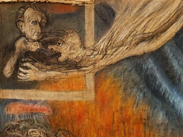 """אסף רהט, """"מרחף מעל אוטובוס בהרים 5"""", טמפרה ודיו על שק יוטה, 2018"""