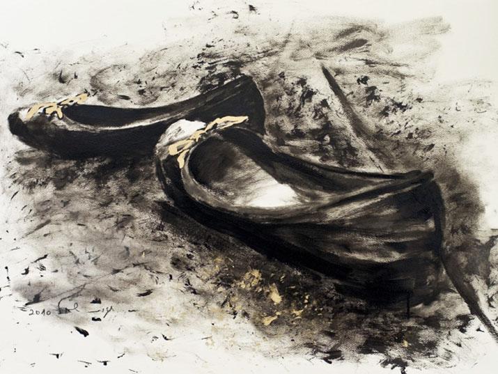"""חגית שחל, פולי, שמן על בד, 50/50 ס""""מ, 2003"""