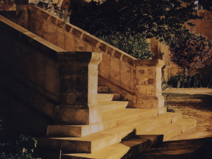 """שלומי חגי, 'פרט' המדרגות, שמן על בד, 122X122 ס""""מ, 1994-6"""