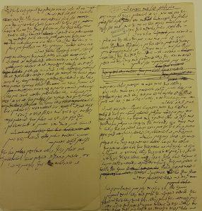 כתב ידו של ישראל יהושע זינגר מתוך: ארכיון מלך ראוויטש, הספריה הלאומית