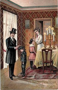 A Jewish couple blesses their children as Shabbat begins. Unknown artist, the National Library Ephemera Collection.