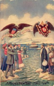 "​This postcard from 1909 features a drawing by Jacob Keller depicting Jewish immigration to America. On the right (east) is a group of traditionally dressed Jews carrying their meager possessions while the symbol of czarist Russia hovers above. The richly dressed, smiling Jews of the west welcome their eastern brethren as does the Statue of Liberty. Overhead, a bald eagle carries a ribbon with a Hebrew quote from Psalms 17:8 - ""and shelter us in the shadow of Your wings"". Printed by the Hebrew Publishing Co. The National Library Ephemera Collection."