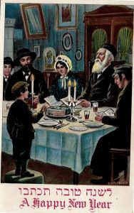 "A child stands and asks ""Mah Nishtanah?"" during his family's Passover Seder. This image was drawn by Freidrich Kaskeline and produced by the Williamsburg Art Company, circa 1920-1930."