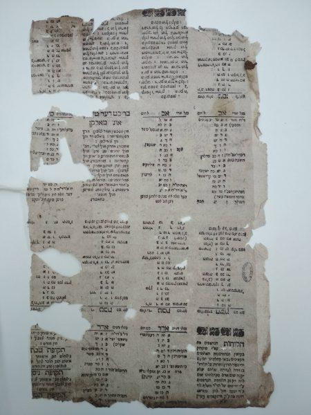 לוח שנה מהמאה השמונה-עשרה שמציין את חג ה'פורים וינץ'. מארכיון הספרייה הלאומית