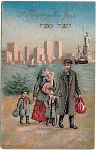 A Jewish immigrant family arrives on Ellis Island, with New York's turn-of-the-century skyline in the background. Unknown artist. The National Library Ephemera Collection.