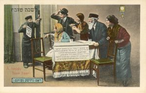 "A man bursts into his home carrying a winning lottery ticket as his family members stare at him in joy and disbelief - The ticket reads 75 Thousand in Yiddish. ""God has blessed you now - a joy!"" Printed by the Williamsburg Art Company around the turn of the 20th century, the National Library of Israel Ephemera Collection."