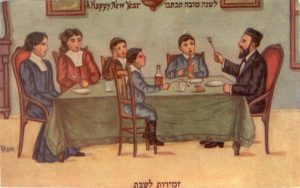 A Jewish family singing Zemirot (Jewish hymns) for Shabbat. By artist Jacob Keller, circa 1910, the Hebrew Publishing Company.