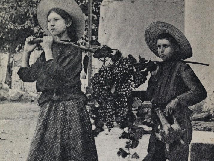 ילדי רחובות נושאים במוט ענבים, 1913